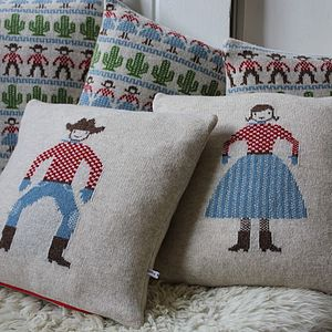 Knitted Lambswool Cowboy Or Cowgirl Cushion