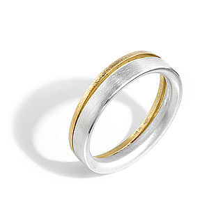 Silver And Gold Split Ring - wedding rings