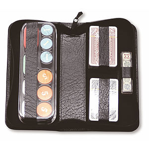 Travelling Poker Set In Real Leather Case - games