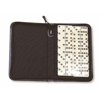 Travelling Dominoes Set In Real Leather Case
