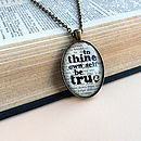 Shakespeare Book Page Quote Necklace