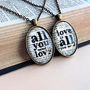 'All You Need Is Love' Book Page Pendant