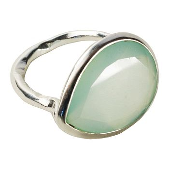 Aqua Chalcedony And Silver Pear Drop Ring
