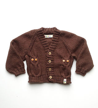 Hand Knitted Baby Cardigan in Chocolate