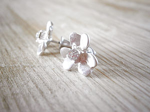 Silver Flower Stud Earrings - women's jewellery
