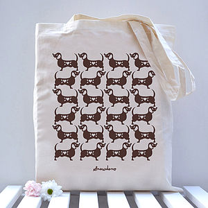 Sausage Dog Pattern Tote Bag - shoulder bags
