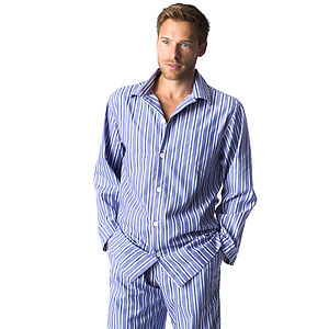 Men's Dark Blue And White Stripe Pyjamas - nightwear