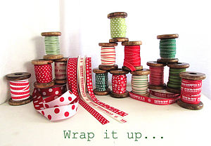 Festive Red, White & Green Ribbon - ribbon & wrap
