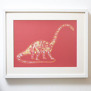 Mechanical Brontosaurus Print - pictures & prints for children