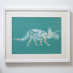 Mechanical Triceratops Print - posters & prints for children