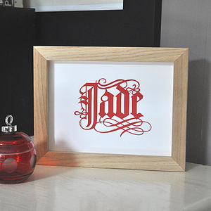 Typographic Name Paper Cut Art - children's pictures & paintings