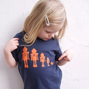 Personalised Child's Robot Family T Shirt - organic & fairtrade clothing
