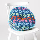 Buckle Round Cushion_Petrel Blue on chair
