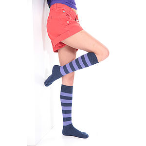 Alpaca Striped Knee Length Socks - women's fashion