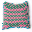 Popper Square Cushion_Pink & Emerald side