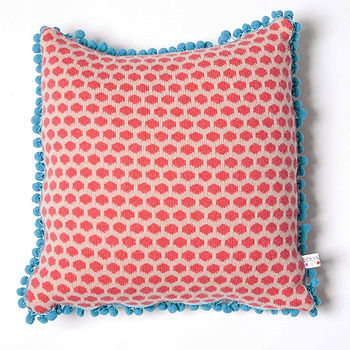 Popper Square Cushion_Nude & Red side