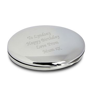 Engraved Silver Round Compact Mirror