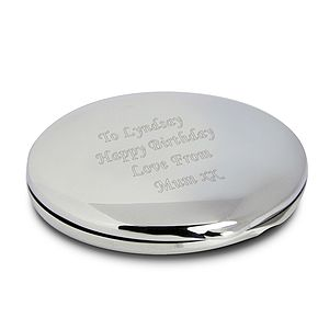 Engraved Silver Round Compact Mirror - beauty accessories