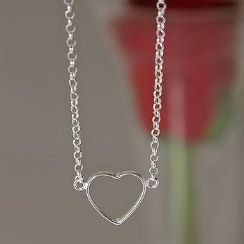 Silver Hollow Heart Necklace
