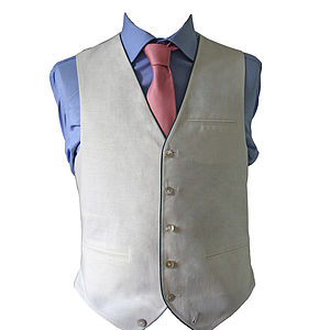 Single Breasted Linen Waistcoat - coats & jackets