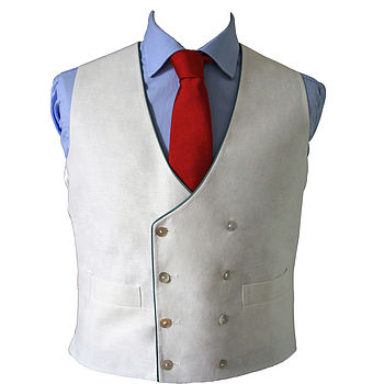 Double Breasted Linen Waistcoat