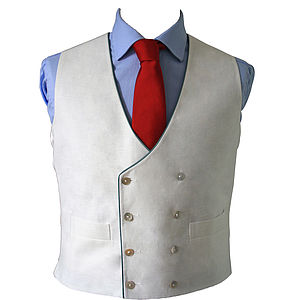 Double Breasted Linen Waistcoat - men's fashion