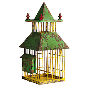 Oriental Yellow Bird Cage By Nordal - decorative accessories