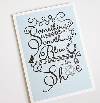 'Something Blue' Wedding Card