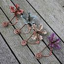 Leather Orchid And Copper Spiral Scarf Pin