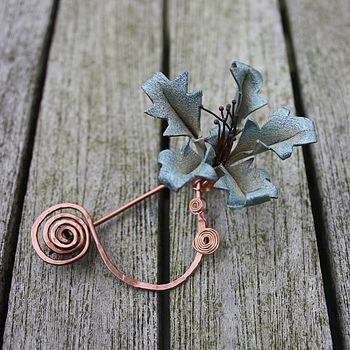 Leather Orchid Pin in Soft Teal