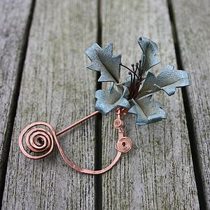 Leather Orchid And Copper Spiral Scarf Pin - pins & brooches