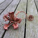 Leather Orchid Pin in Rosy Peach