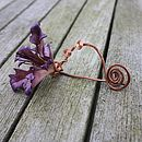 Leather Orchid Pin in Blackberry