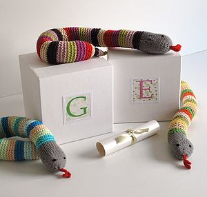 Personalised Baby Gift Snake Rattle In A Box - soft toys & dolls