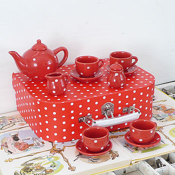 Children's Red Spotty Porcelain Tea Set
