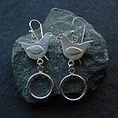 Silver Bird Hoop Earrings