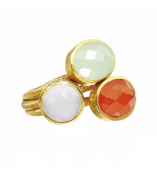 Gold Stacking Rings Carnelian
