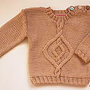 Hand Knit Cable Jumper In Pure Merino