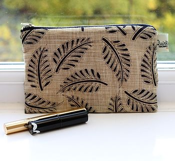 Hand Printed Leaf Cosmetic Bag