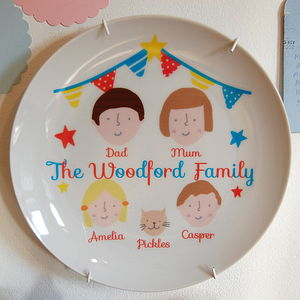 Personalised Circus Theme Family Portrait Plate - personalised