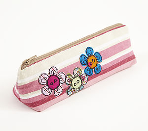 Embroidered Flower Button Pencilcase - make-up bags