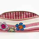 Embroidered Flower Button Pencilcase