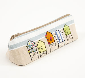 Embroidered Beach Hut Pencilcase - make-up bags