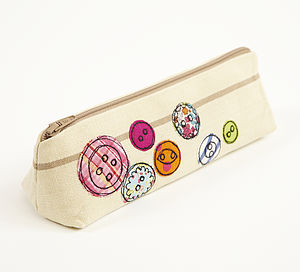 Embroidered Button Pencilcase - bags & purses