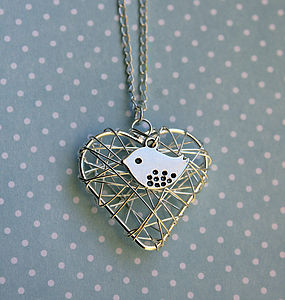 Birdy Heart Nest Necklace - women's jewellery