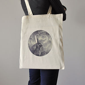 Bunny And Moon Cotton Tote Bag