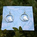 Birdy In A Circle Earrings