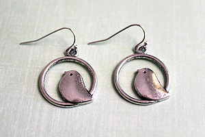 Birdy In A Circle Earrings - women's jewellery