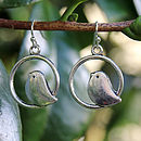 Birdy In A Circle Earrings