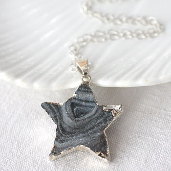 Druzy Geode Star Necklace